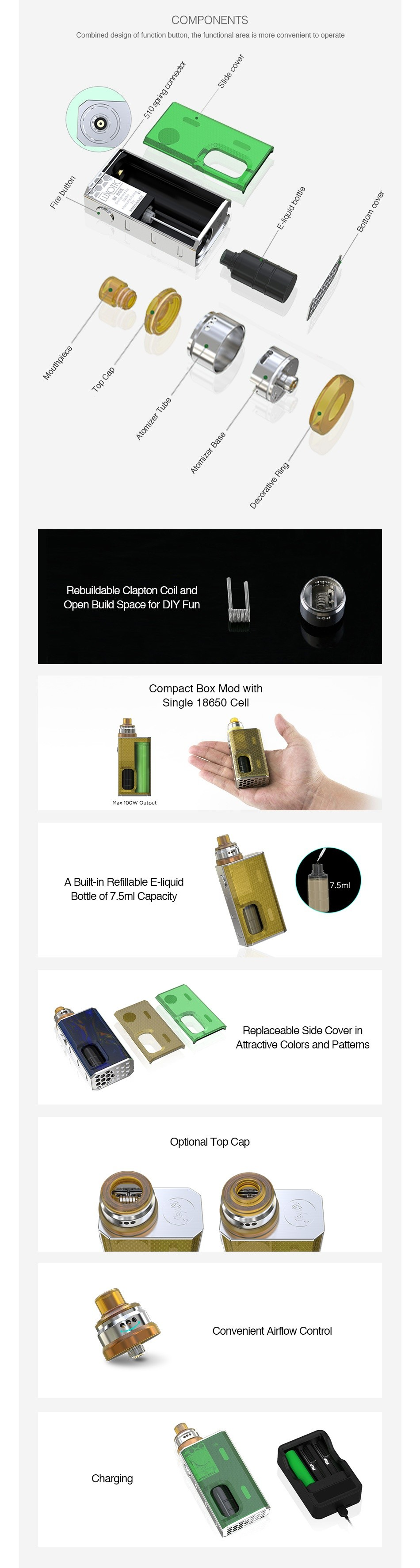 WISMEC Luxotic BF Box Kit with Tobhino COMPONENTS combine cosign of runcton buton  tc functio na arca ls morc convenient to operate   buildable Clapton Coil and Open Build Space for DIY Fun Single 18650 Cel A Built in Refillable E liquid Bottle of 7 5ml Capacity eplaceable side Cover in