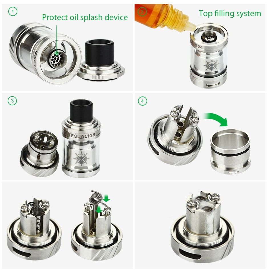 Tesla Captain 24 RTA Tank 2.5ml Protect oil splash device Top filling system ESLACIGS