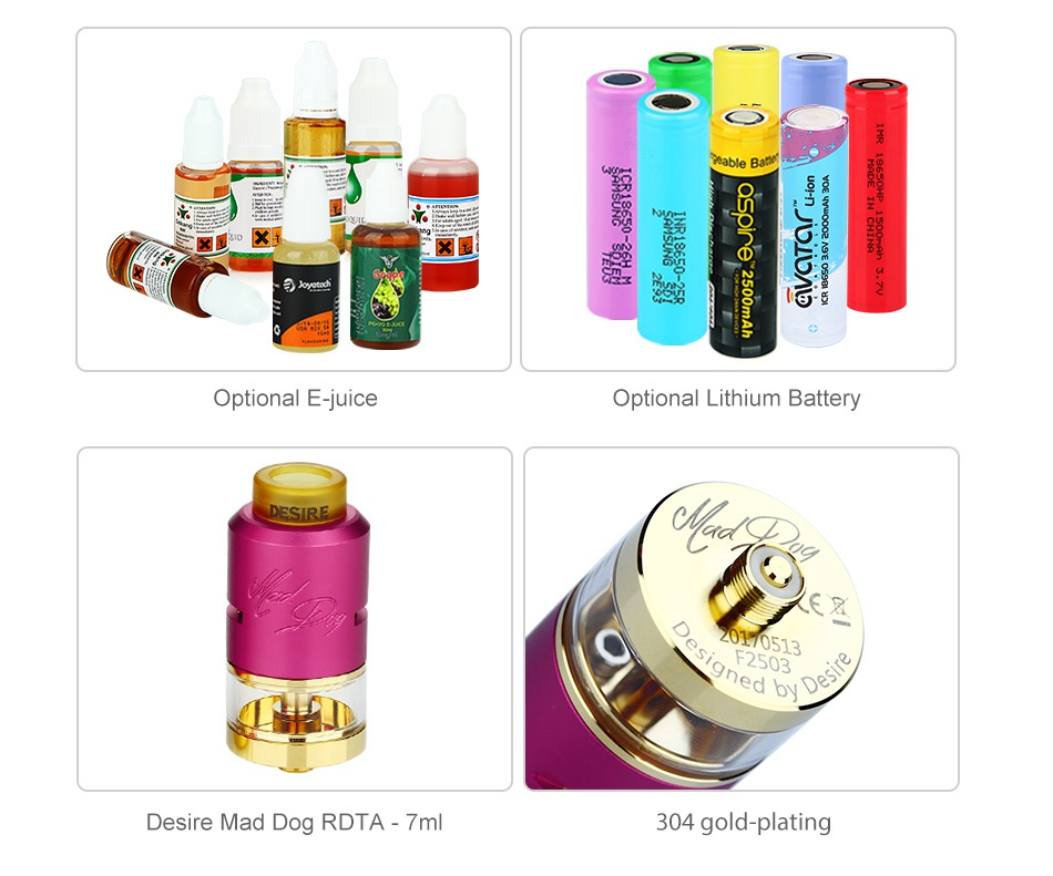 Desire Mad Dog RDTA MECH Kit 38    G  l65 Optional E juice Optional Lithium Battery 60513 d by Desire Mad Dog rdta 7ml 304 gold plating