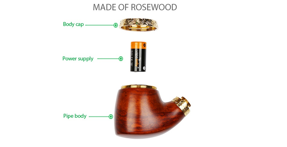 VapeOnly vPipe 3 Body MADE OF ROSEWOOD Power supply Pipe body