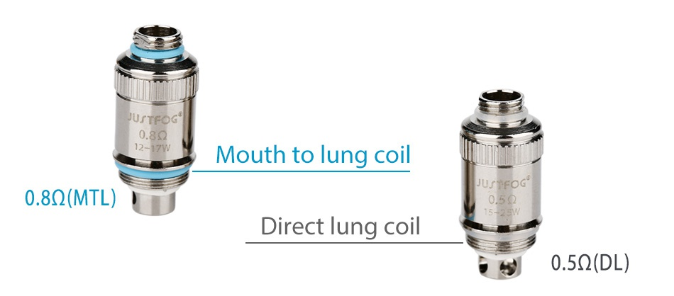 JUSTFOG FOG1 Kit 1500mAh USTFOG 0 8Q Mouth to lung coil 8Q MTL I Direct lung coil s0 592 DL