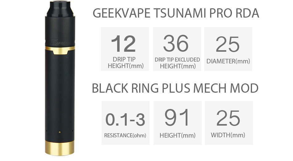 GeekVape Tsunami Mech Kit GEEKVAPE TSUNAMI PRO RDA 123625 DRIP TIP DRIP TIP EXCLUDED DIAMETER mm  HEIGHT mm  HEIGHT mm  BLACK RING PLUS MECH MOD 0 1 39125 RESISTANCE ohm  HEIGHT mm  WIDTH mm