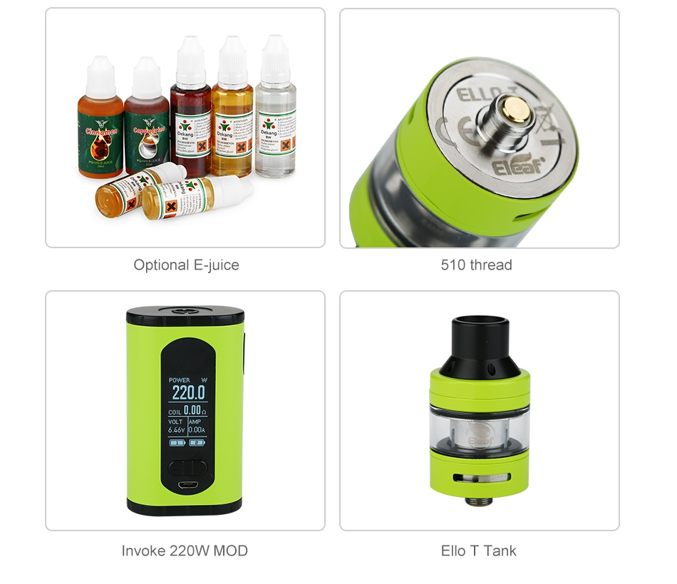 Eleaf Invoke 220W with Ello T TC Kit Optional E juice 510 thread 2200 voke 220W MOD E Tank
