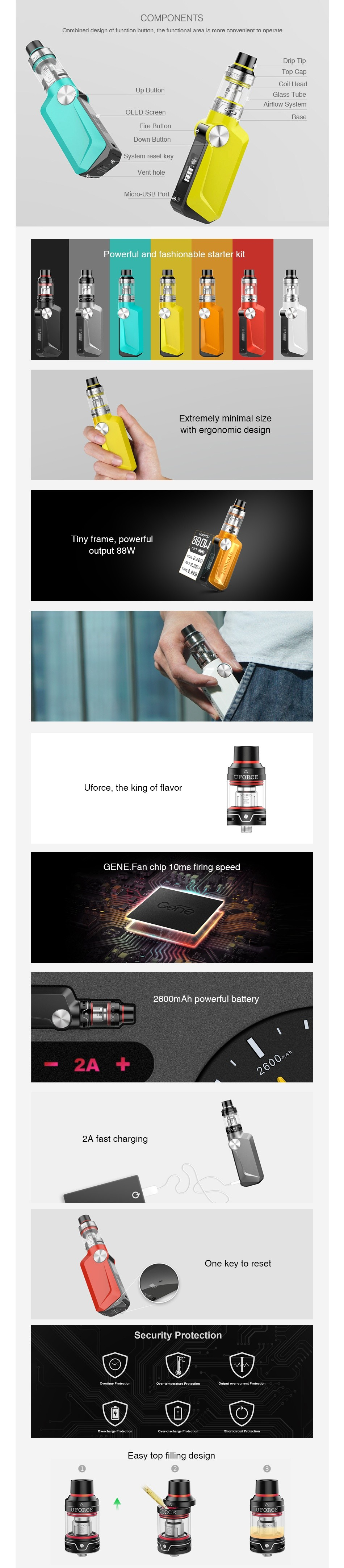 VOOPOO MOJO 88W with UFORCE TC Starter Kit 2600mAh FEATURES