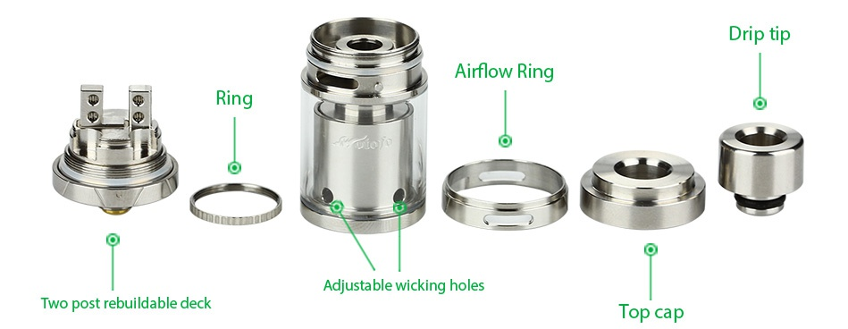 WOTOFO Sapor RTA Atomizer 2ml Ip tip Airflow Ring Ring Two post rebuildable deck Top cap