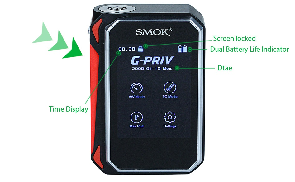 SMOK G-PRIV 220 With TFV8 Big Baby Starter Kit SMOK Screen locked Dual Battery Life Indicator G PRIV  B   lMon Dtae Time Display Max Puff