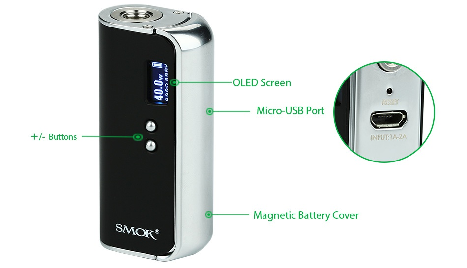 SMOK OSUB 40W TC Starter Kit 1350mAh OLED Screen 0 Micro USB Port     Buttons NPUTIAZA Magnetic Battery Cover