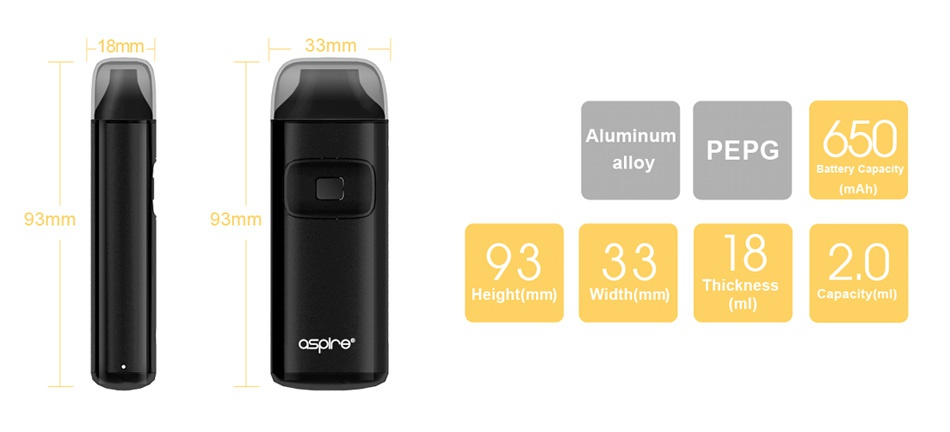 Aspire Breeze AIO Kit 650mAh 3mm Aluminum PEPG 650 allo 93mm 93mm 93331820 Thickness Height mm  Width mm   ml  Capacity ml