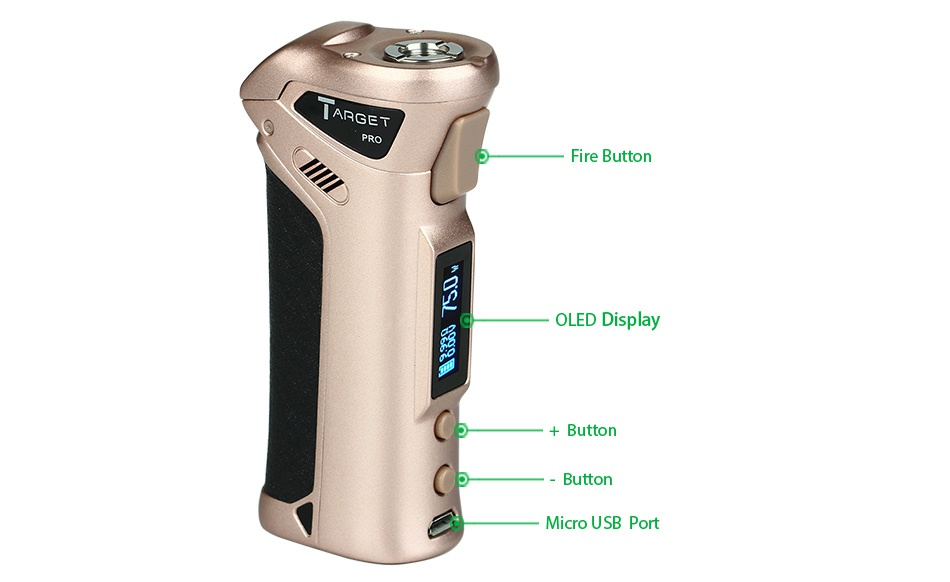 Vaporesso TARGET Pro 75W VTC MOD Kit lARGET Fire butto OLED Display Butto Button Micro usb port