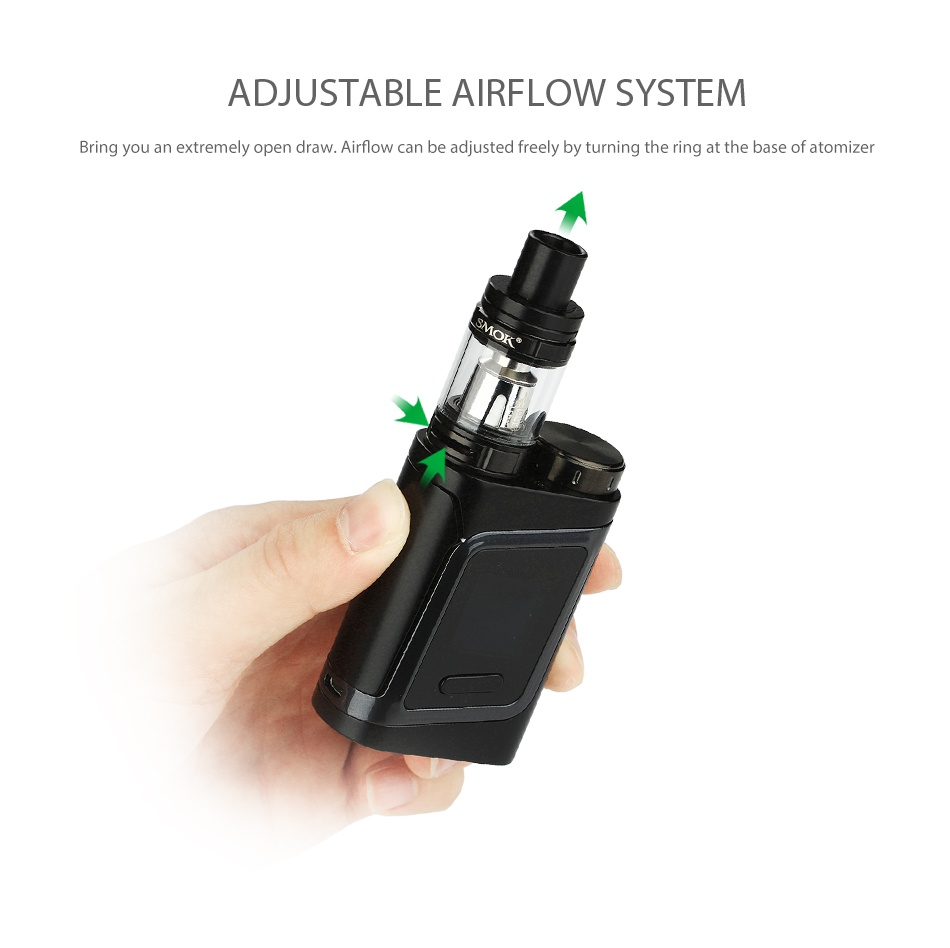 SMOK Alien Baby AL85 TC Starter Kit ADJUSTABLE AIRFLOW SYSTEM g you an extremely open draw Airflow can be adjusted freely by turning the ring at the base of atomizer