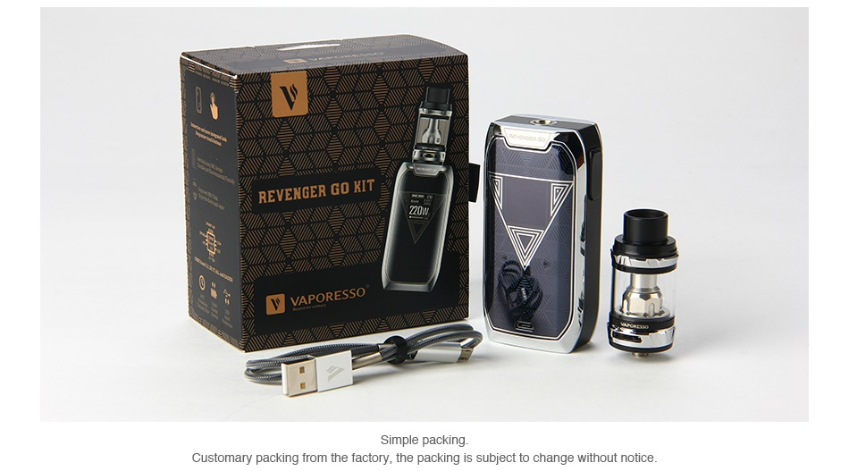 Vaporesso Revenger GO 220W with NRG TC Kit 5000mAh Customary packing from the factory  the packing
