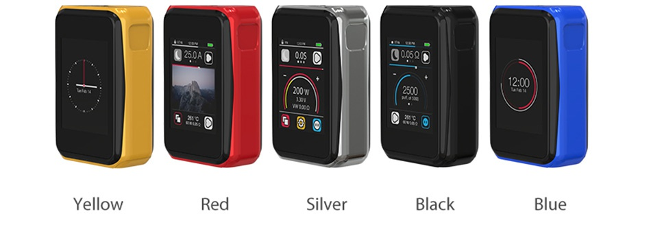 Joyetech CUBOID PRO 200W Touch Screen TC MOD 250A 00A Too Fco 14 200W Vwo40Q 261c    Yellow Red Silver c09590 12 00 2500 Ca   Black Blue