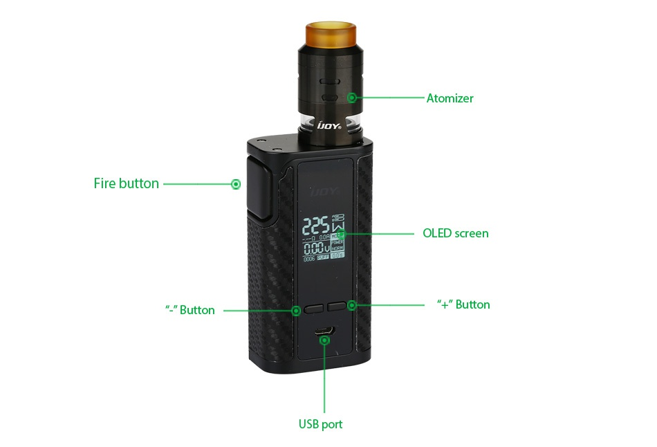 IJOY Captain PD1865 225W with RDTA 5S TC Kit 225  OLED scree   Butt USB port