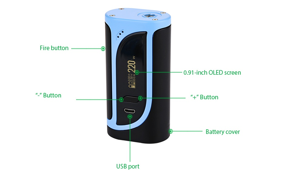 Eleaf iKonn 220 with Ello Kit e button 0 9  inch oled screen Button Button Battery covel USB port