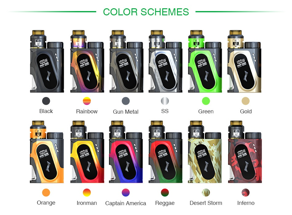 IJOY CAPO SRDA 100W 20700 Squonker Kit Black Rainbow Gunmetal Orange Ironman Green Gold Captain Reggae Desert Strom Inferno America