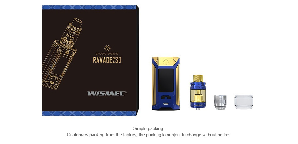 WISMEC SINUOUS RAVAGE230 230W TC Kit with GNOME King RAVAGEZI WAMEL mple packing Customary packi m the factory  the packing is subject to change without notice