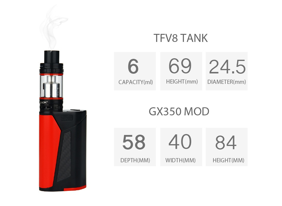 SMOK GX350 With TFV8 Full Kit Purple Black Gold Black Silver Black Black Red